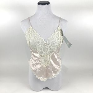 Vtg Jcpenney Delicates Pink Ivory Lace Camisole